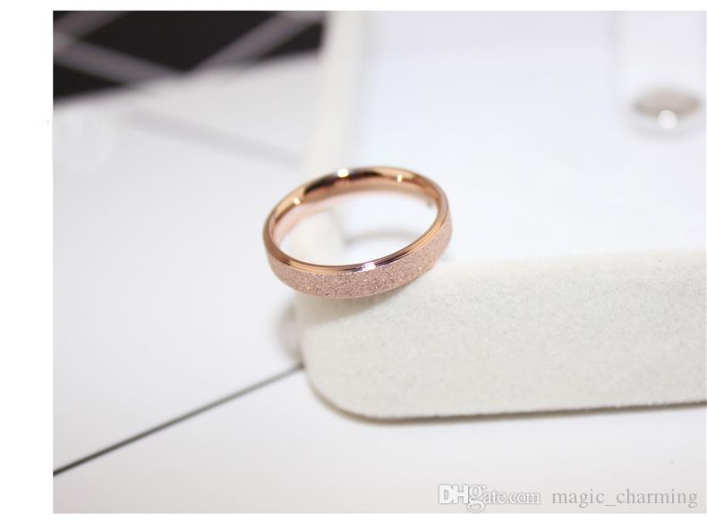 Rose Gold Plated Titanium Steel Simple Frosting Fine 4mm Cheap Women Ring, US Size 3 to Size10 available smaller ring size 3