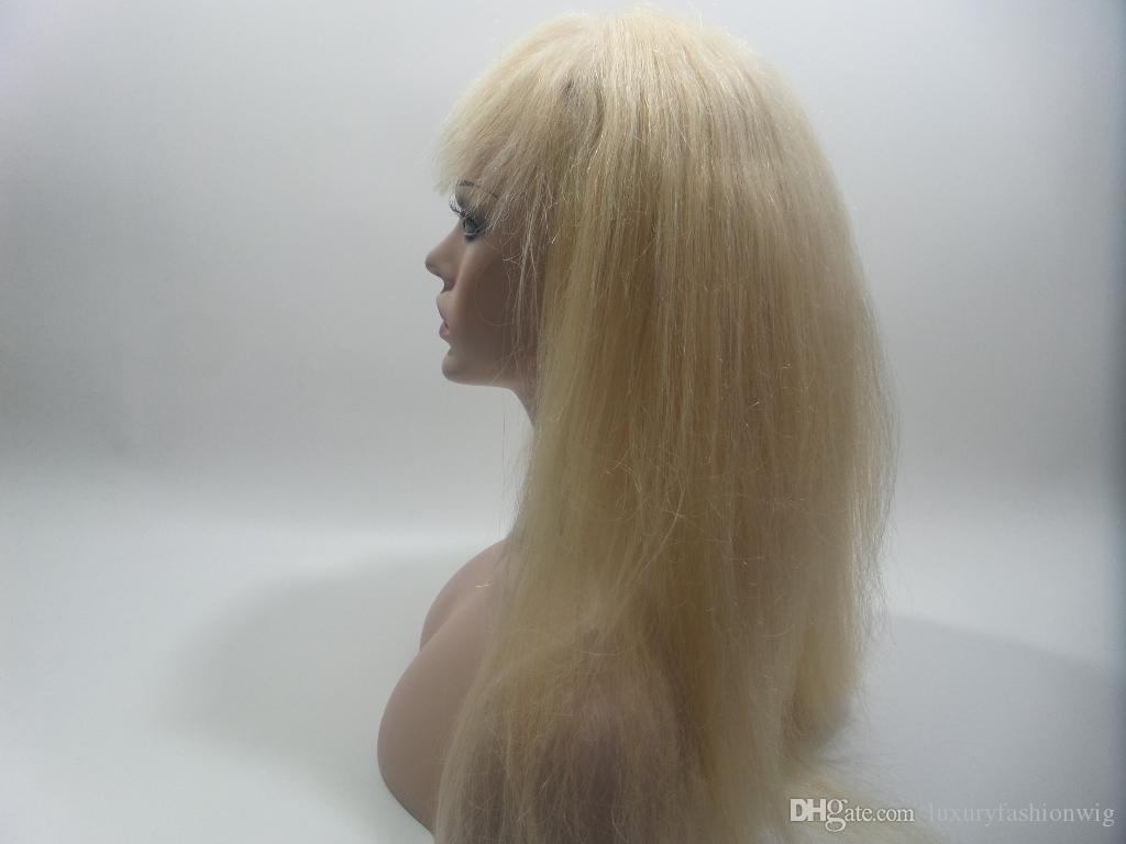 Virgin Brazilian Straight Silky Kein Schwanz voller meiner Echthaarperücke Cordon Pure Color Long 27 # Blondes Haar ist voller meiner Schuhe, eine weiße Frau