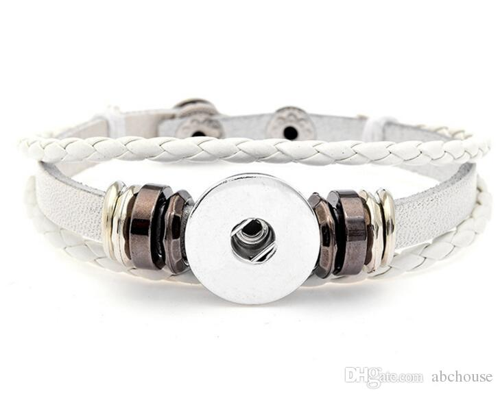 Mode 6 Styles DIY Multicouche En Cuir Noosa Morceau 18mm En Métal Bouton Bracelet DIY Ginger Snap Bouton Déclaration Bijoux Livraison gratuite