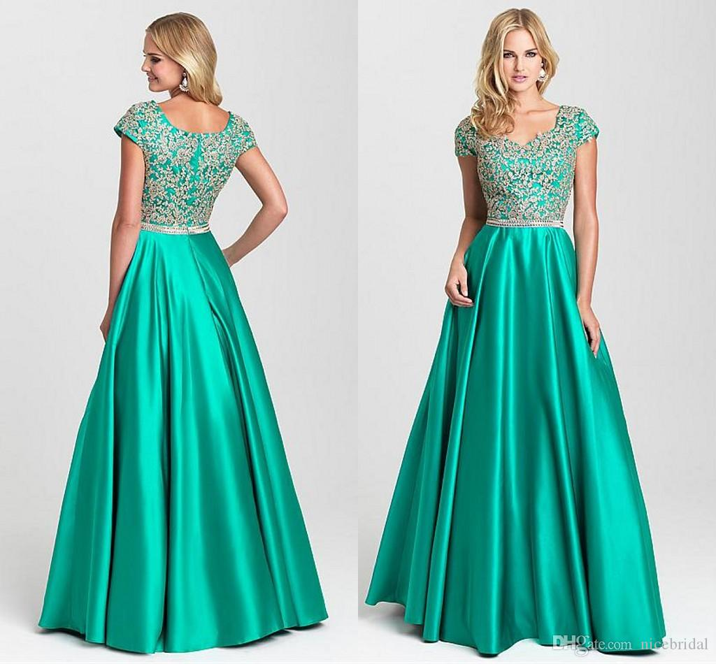Long Satin Prom Dresses 2018 For Women Wear Boat Neck Appliques ...