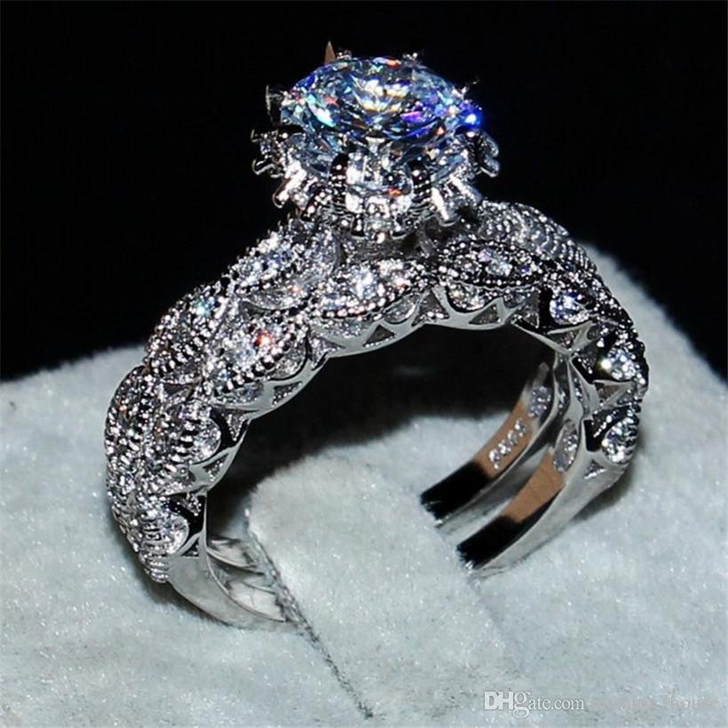 Diamond 3ct Emerald Shape Diamond Engagement Bridal Sets Ring Band 2 Pcs Set Prong Style