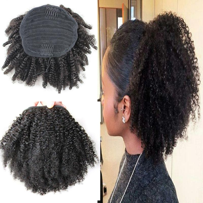 100 Human Hair Ponytail Afro Kinky Curly Ponytail Mongolian Virgin