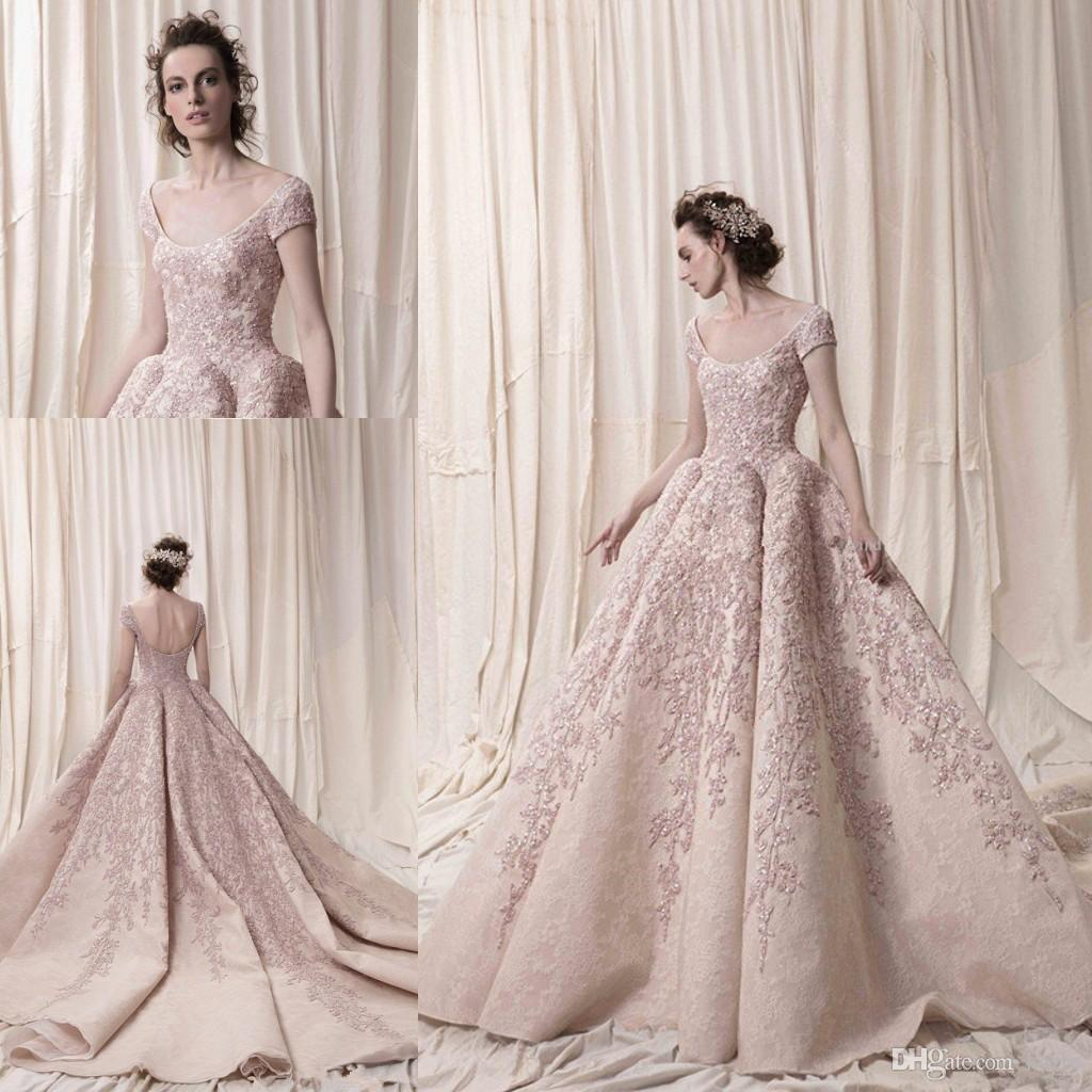Arab Dubai short sleeves ball gown luxury embroidery wedding dresses 2018 Krikor Jabotian cathedral train bridal wedding gowns