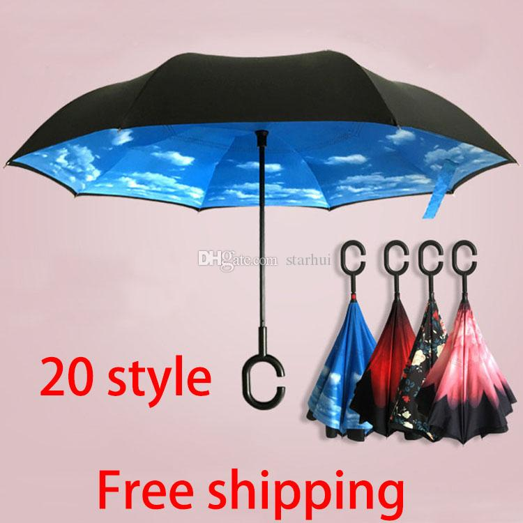 Free Shipping Inverted Umbrella Double Layer Inverted Umbrella Reverse Rainy Sunny Umbrella with C Hook HandleSelf Special Design WX-U02