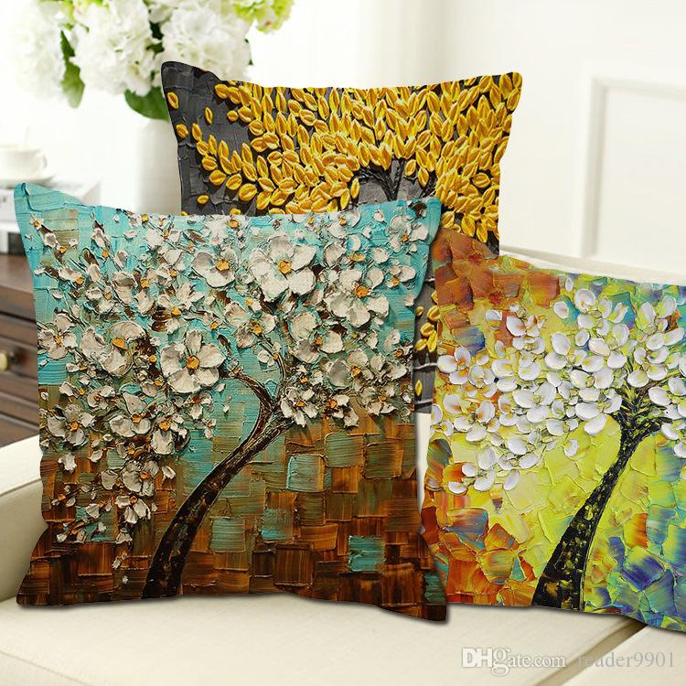 Hot Sales New 40d Tree Pattern Linen Pillow SetsCaseCotton CoreHome Magnificent Decorative Pillow Sets Clearance