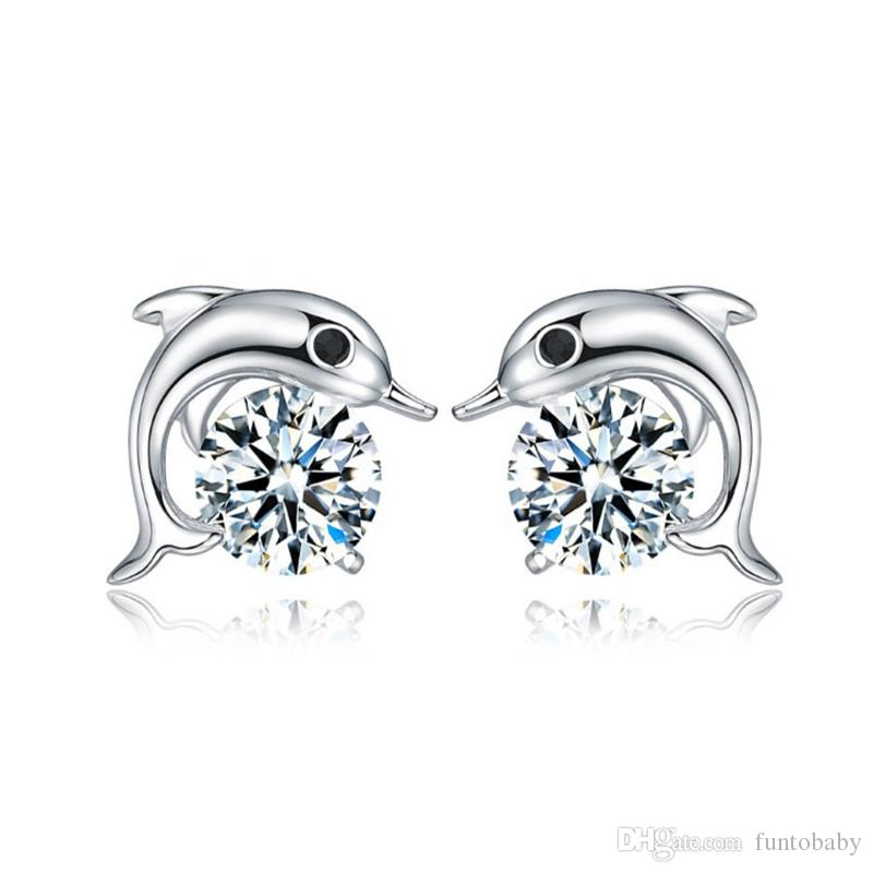 f91e0f4f97889 Romantic Jewelry Fashion Stud Earrings Plated Charm Fashion 925 Sterling  Silver Cute Dolphin Earring Anti-allergy for Girls