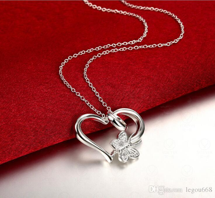Wholesale silver plated pendant925 fashion silver jewelry wholesale silver plated pendant925 fashion silver jewelry butterfly heart pendants necklace for womenmen chain g995 diamond heart pendant necklace mozeypictures Images