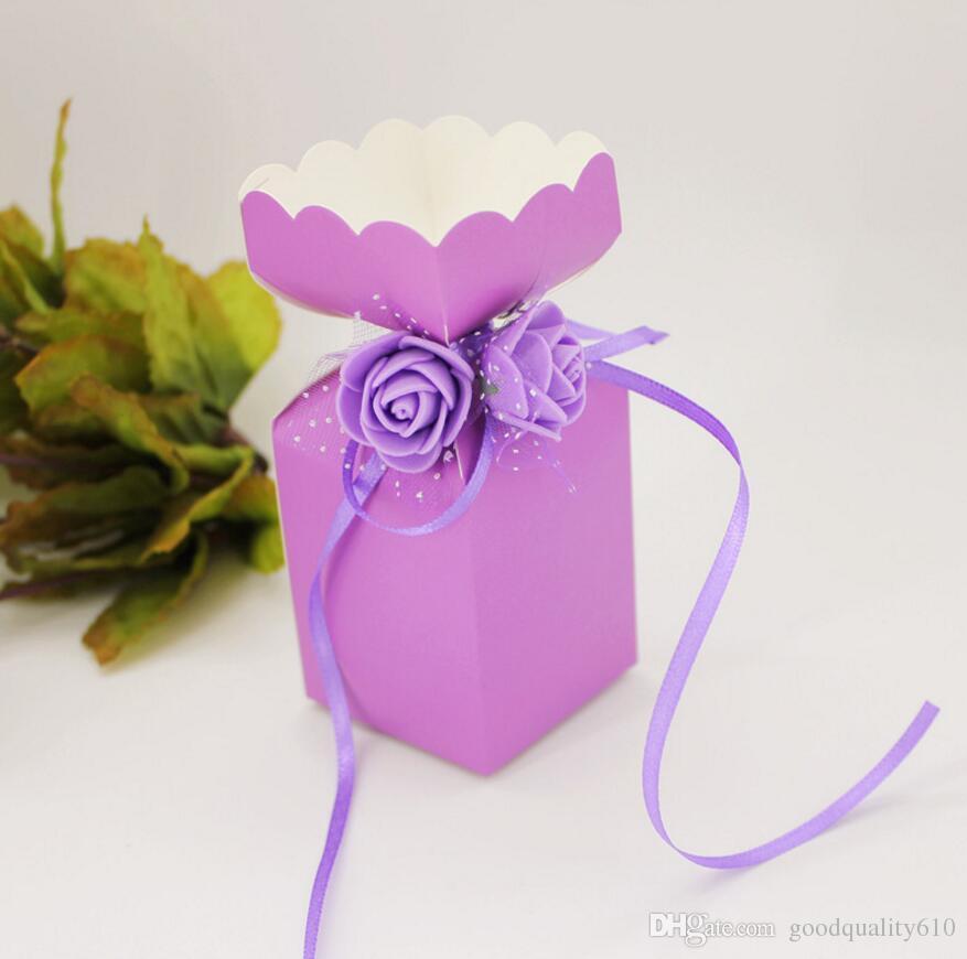 100 pz 12 * 5 * 5 cm PE Rose Flower Candy Box Cioccolatini Scatole Con Nastro Festa Nuziale Baby Shower Regalo di favore