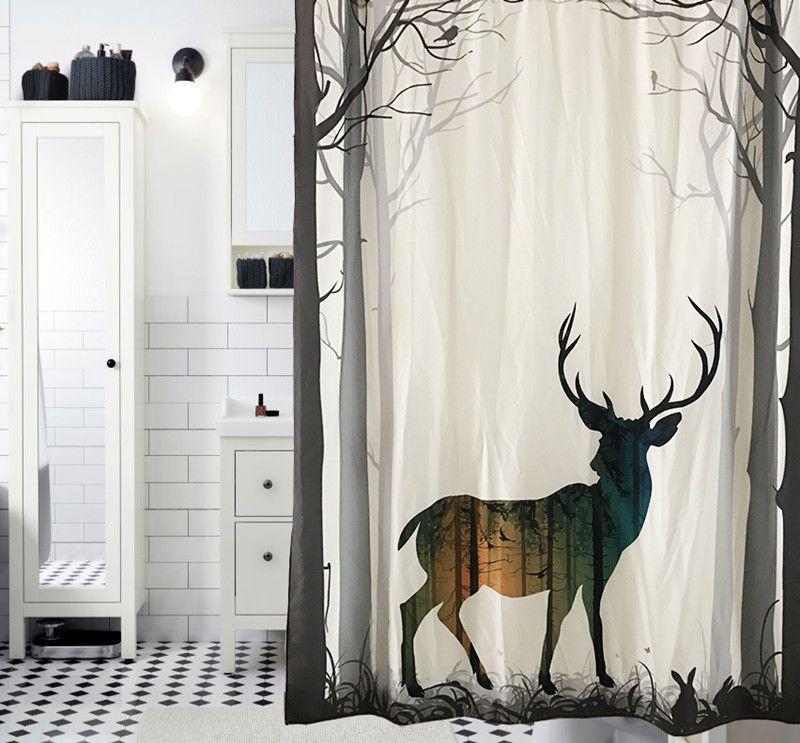 2019 2017 Thicken Polyester Shower Curtains Creative Elk Pattern Bath Curtain Exquisite Tree Deer Bathroom Waterproof Door From