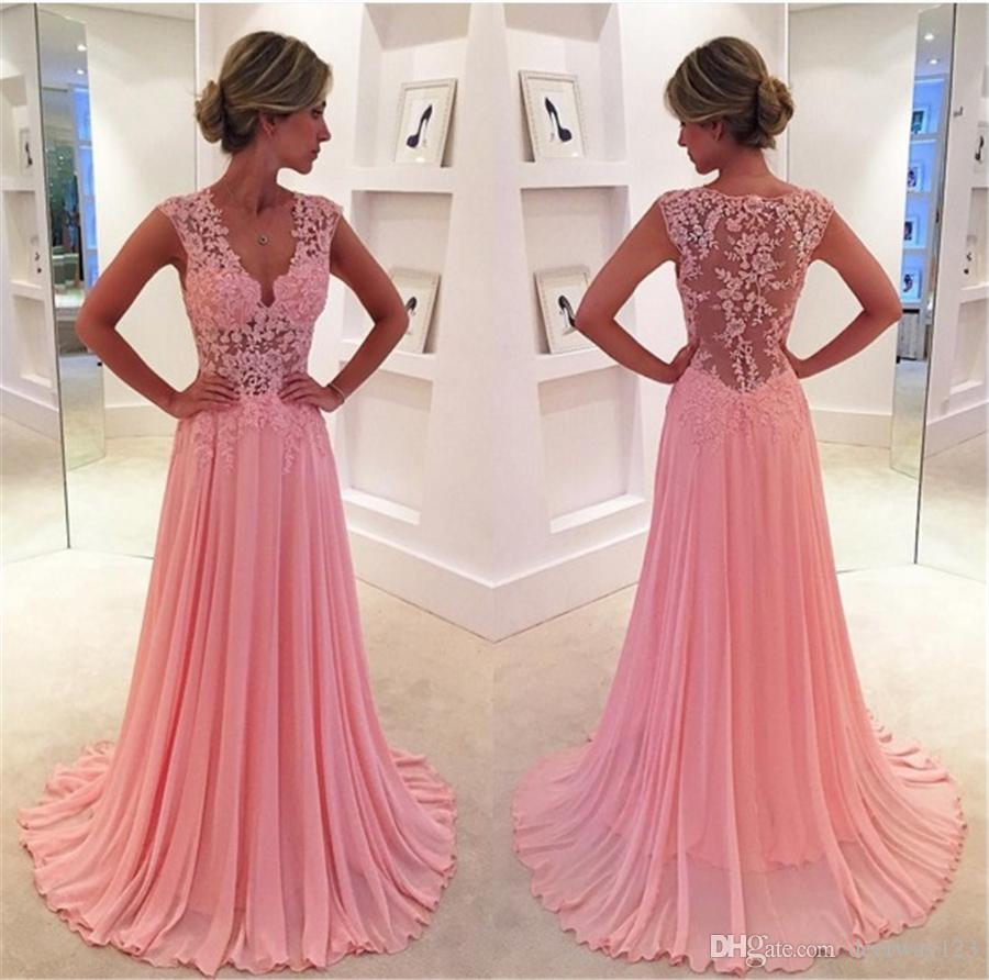 Deep V Neck Pink Chiffon With Lace Sheer Back A Line Prom Dress ...