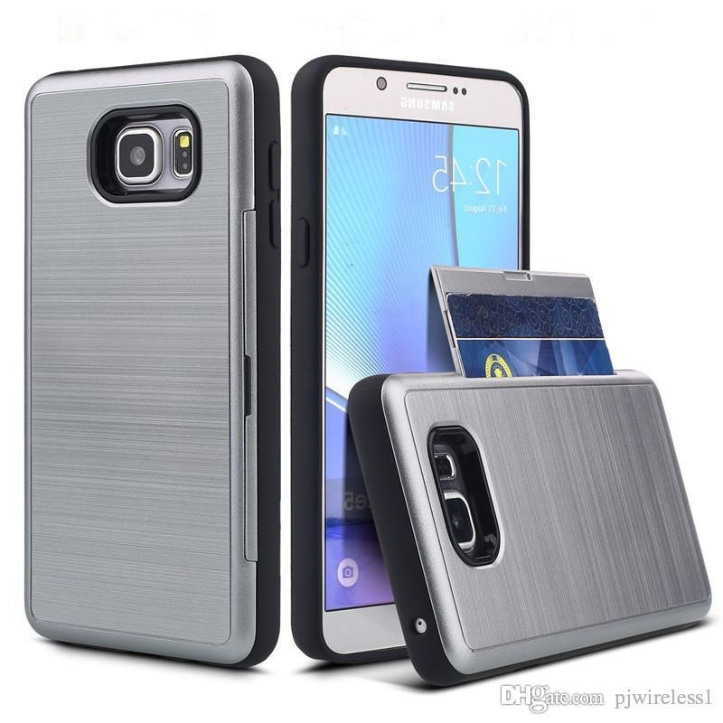 the latest db1ce 902ff For Samsung Galaxy J3 Prime Metropcs J7 Prime Metropcs S8 Plus iphone 6 7  Plus Brushed Armor Hybrid case credit card slot D