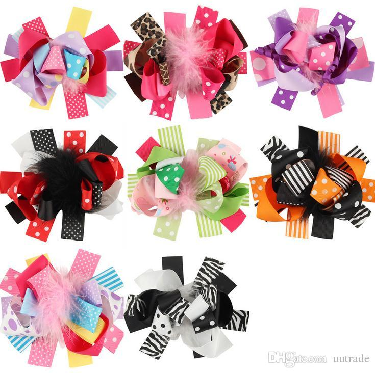 Infant Christmas style kids Barrettes Girls Headwear Kids Baby feather Hair Accessories Baby Hairpin Girls Hair Clips mixed styles