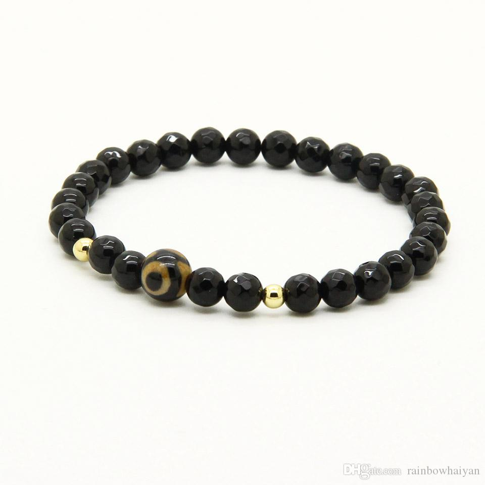 Religious Wholesale Jewelry A Grade Dzi Eye Stone Beads With 6mm Faceted Black Onyx Lucky Energy Easter Bracelets