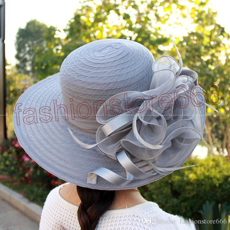 새 여자 켄터키 더비 웨딩 교회 파티 꽃 모자 우아한 폭 넓은 태양 여름 모자 Organza 모자 7 색 최고 품질