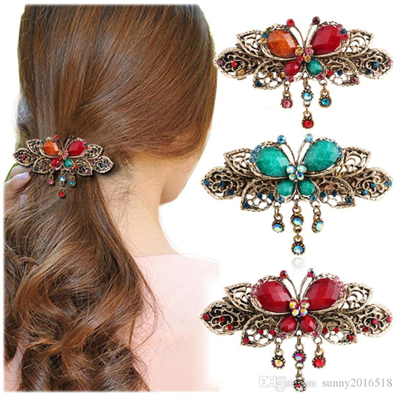 2019 Antique Bronze Barrettes Gemstone Butterfly Hair ...  Real