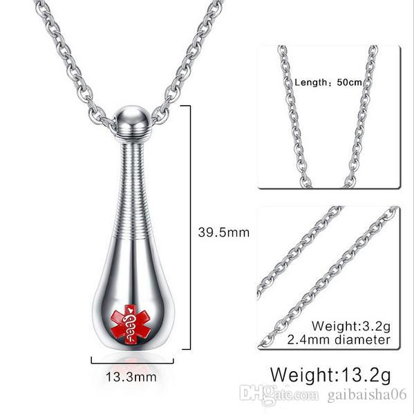 Necklace Men Stainless Steel Medical Alert Pendant Keepsakes Cremation Urn Jewelry Chokers Collares Kolye PN-684