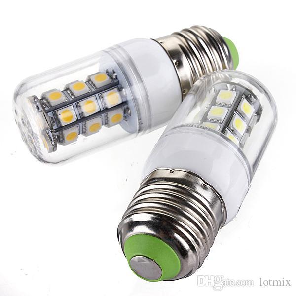 High Quality E27 3W 350LM 27 LED 5050-SMD Energy Saving Pure Warm White Corn Light Lamp Bulb AC/DC12V