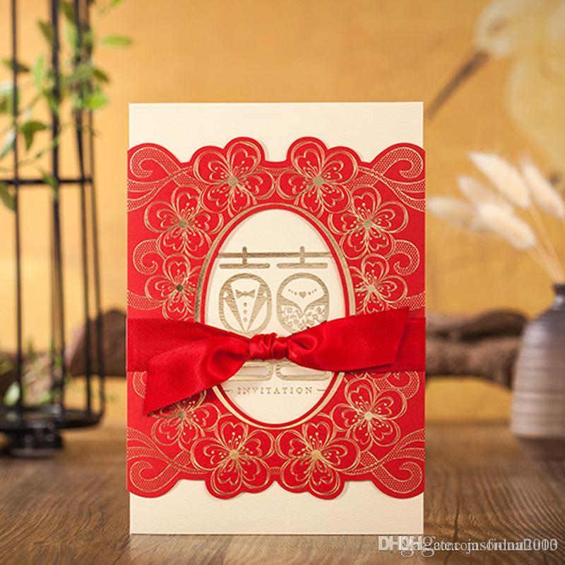 Gold Chinese Wedding Invitation Red Flower Personalized Printing ...