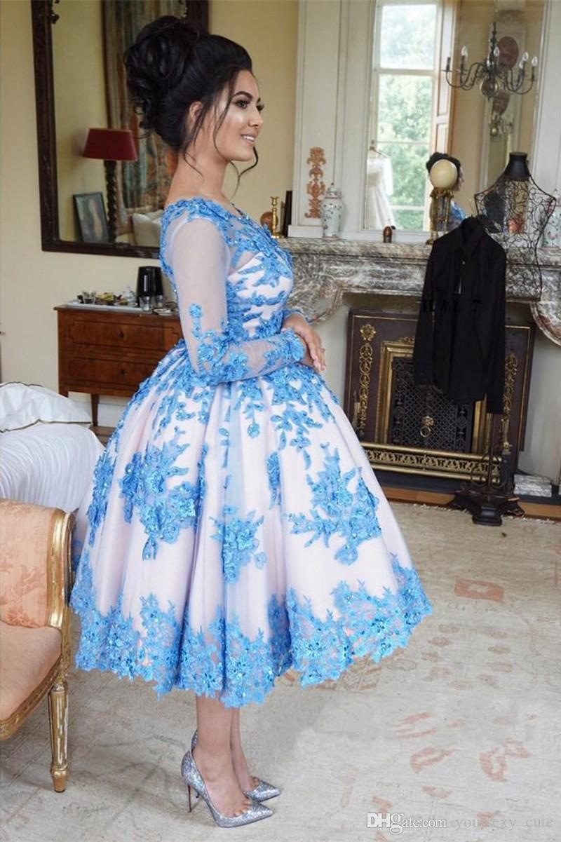Blue White Ball Gown Short Prom Dresses Scoop Neck Long Sleeves Appliques Beaded Satin Tea Length Evening Dresses Short Party Dresses