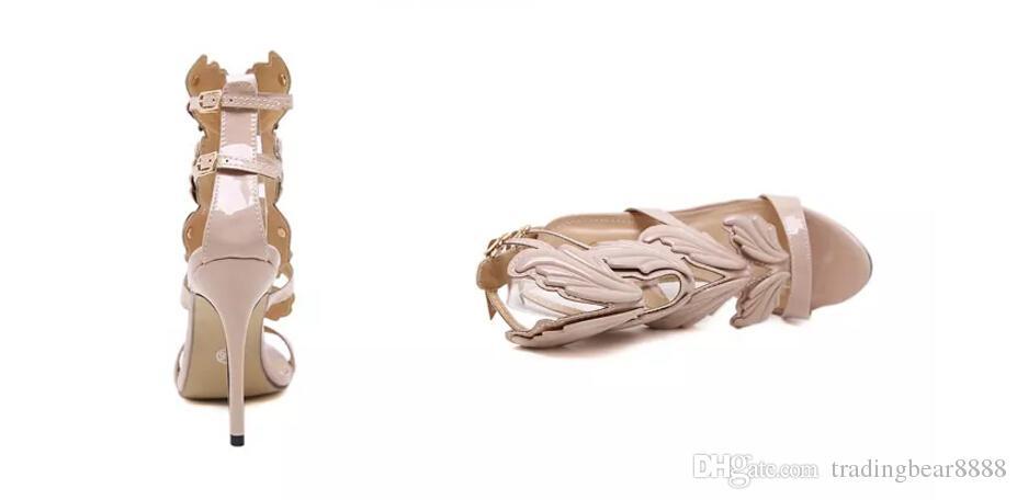 New Flame feuille de métal Aile Talons hauts Sandales Or Nude Black Party Events Chaussures Taille; 35 -40