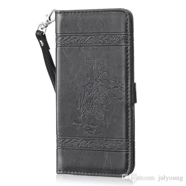 Wallet Leather Case For Iphone 7 Plus 6 6s SE 5 5S Moto G4 Plus Play Crazy Horse Flower Photo Card Holder Flip TPU Stand Cell phone Cover