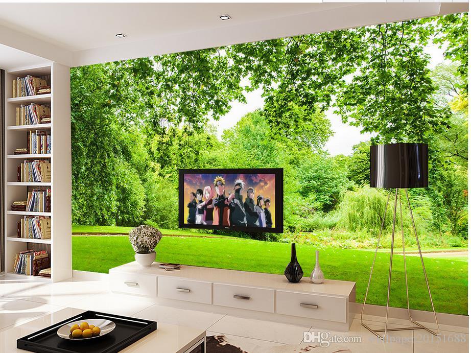 Acheter Feuille Verte Paysage Herbe 3d Tv Papier Peint 3d Papier