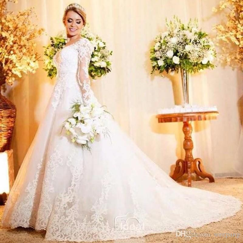 Discount Long Sleeve Lace Wedding Dresses 2017 New Simple: Discount Vintage Long Sleeve Lace Wedding Dresses Court