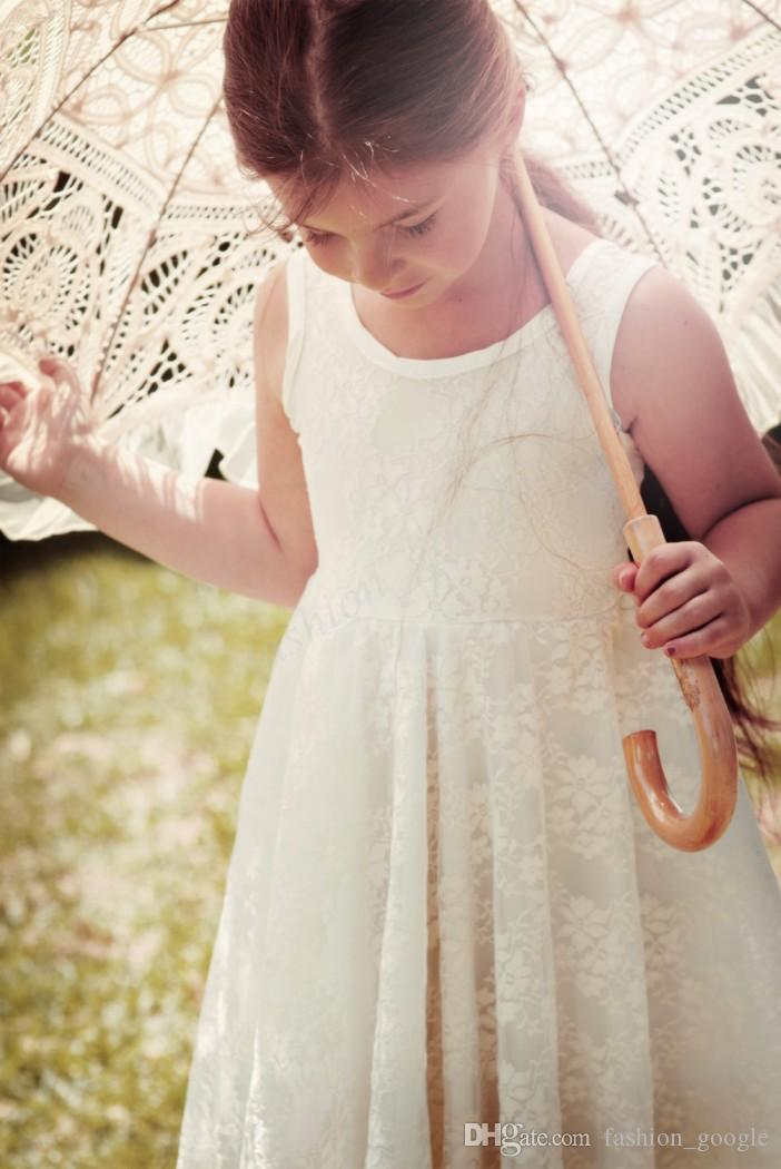 Bohemian Flower Girls Dresses 2017 for Beach Weddings with Jewel Neck & Knee Length Fully Lace First Communion Dress for Little Baby Girl