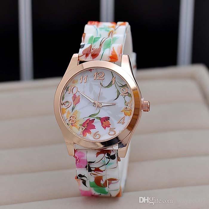 Nova Moda Relógio de Quartzo Rose Flor de Impressão de Silicone Relógios Florais Geléia Relógios Desportivos Para As Mulheres Homens Meninas Rosa Quente preço de Atacado