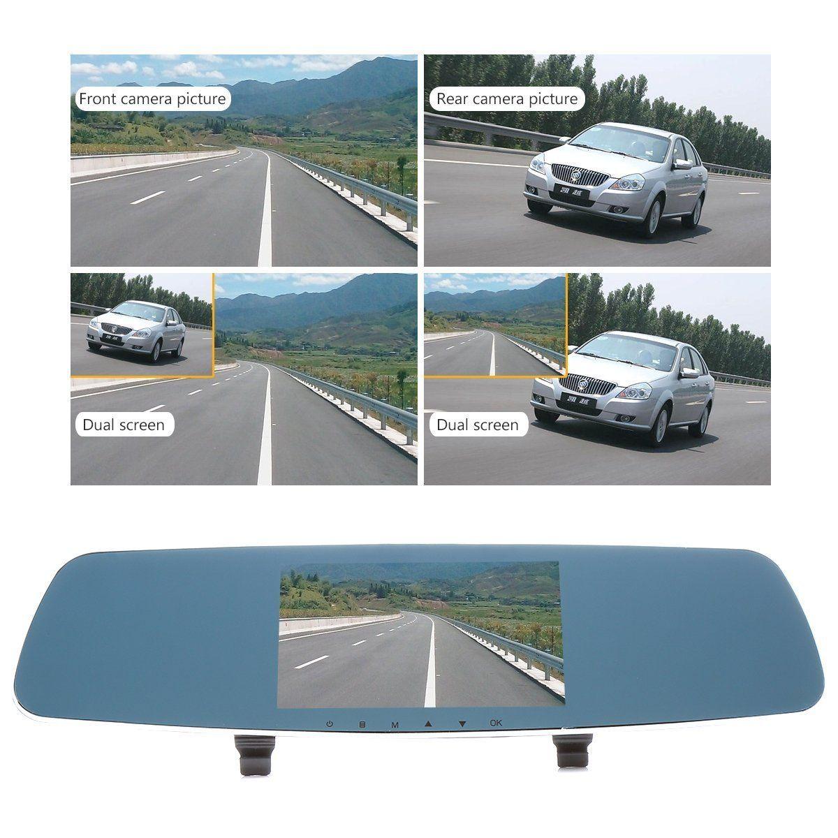 FHD Dual Screen Rearview Mirror Car DVR Recorder Dash Camera IR Night Vision Abilities Loop Recording G Sensor Motion Detection PZ909A