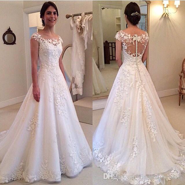 compre 2017 occidental vestidos de novia una línea de tul apliques
