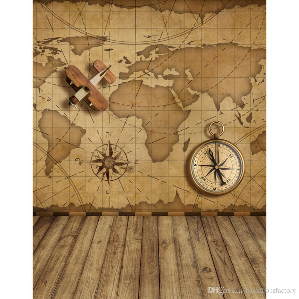 2018 world map wall photography backdrop vinyl compass airplane toy 2018 world map wall photography backdrop vinyl compass airplane toy kids photo backdrops children background brown wooden floor from backdropsfactory gumiabroncs Images