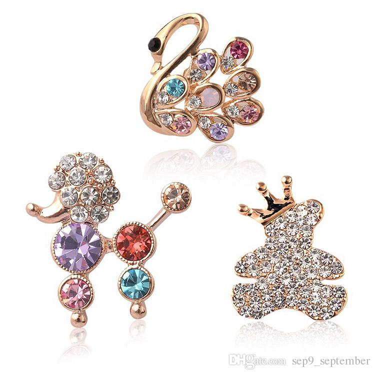 Brooch Rhinestone Crystal Brooches Jeweled Brooches Multicolor Small Animals Brooch Valentines Gift 2017 New Style Brooches for Women