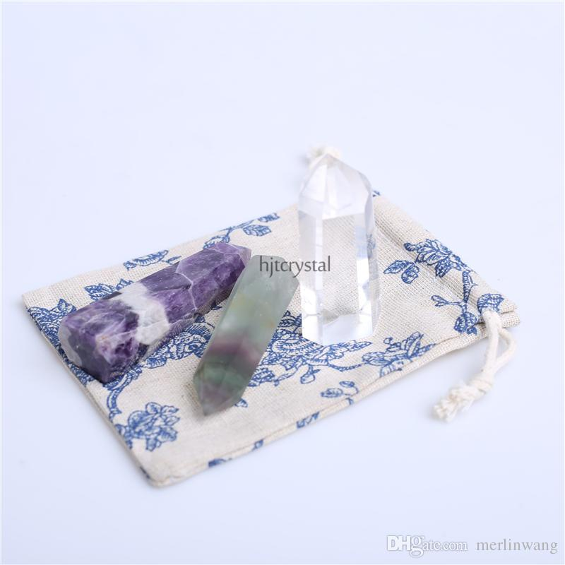 HJT Wholesale Mixed crystal point natural Clear quartz, Amethyst, Fluorite points quartz reiki healing point crystal Cure chakra stone