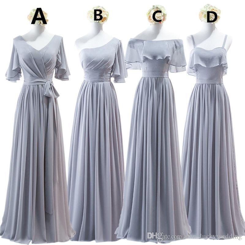Brautjungfer kleid lang grau