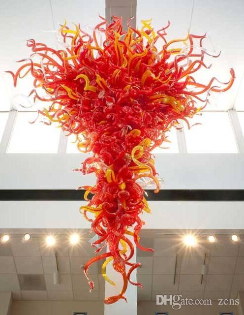 Blown neue Art-Glas-Leuchter-Beleuchtung LED-Licht CE / UL-Zertifikat Rot Große Luxuxwohnzimmer Esszimmer Glasleuchter