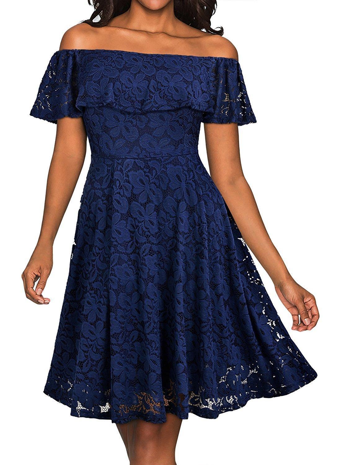 Women\'S Casual Off Shoulder Floral Lace Party Swing Dress 1950s ...