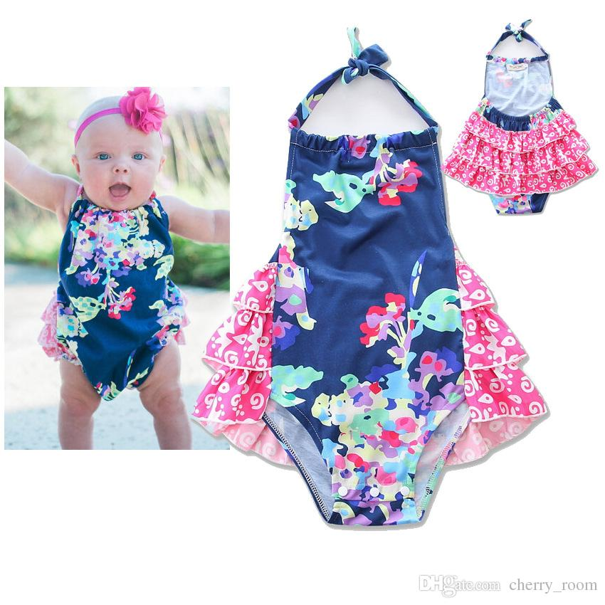 99124177d Baby Clothes INS 2017 New Floral Ruffle Girls Romper Kids Jumpsuit ...