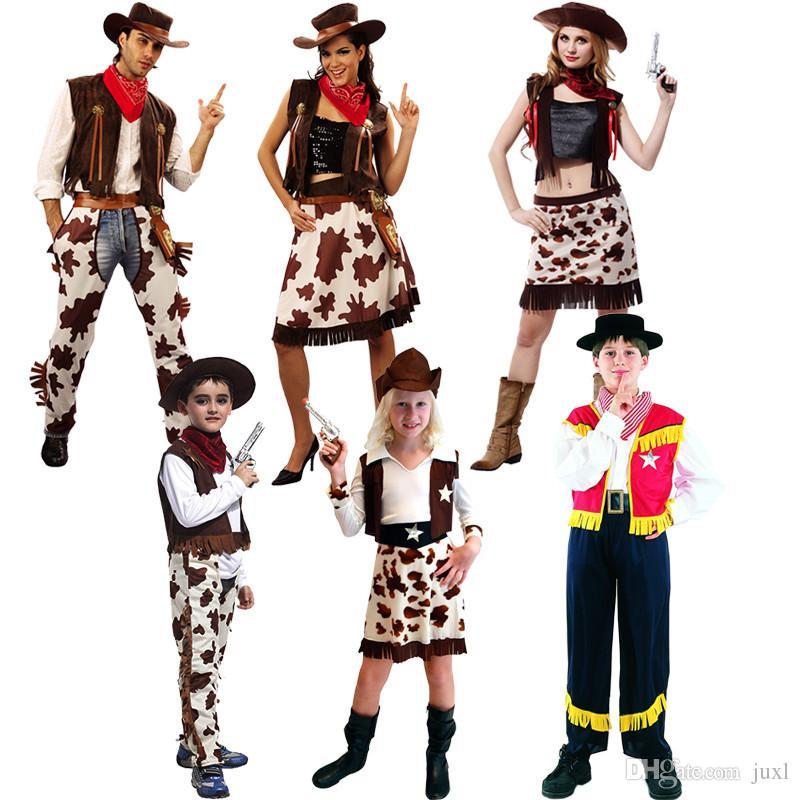 b454c09b263de Children Adults West Cowboy Cosplay Costume Boys Girls Men Women  Performance Clothing Set Halloween Dress Party Supplies Halloween Costumes  For Kids ...