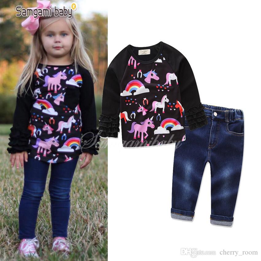 5ad8e16a89af 2019 INS HOT Girls Unicorn Cartoon Sets Sets Long Sleeve Tops Shirt + Denim  Pants Set Outfits Animal Printed Baby Clothing Sets Black A7688 From  Cherry room ...