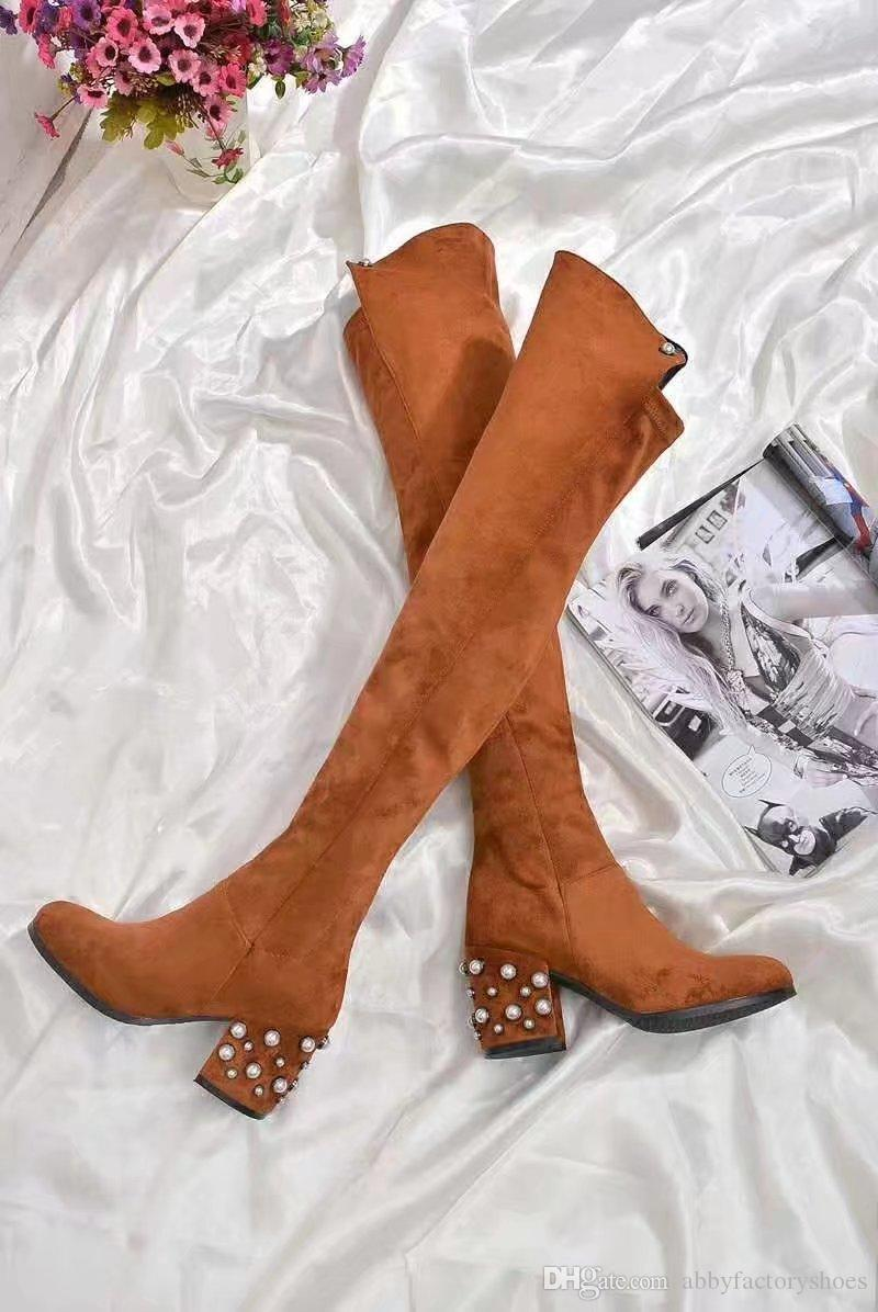 2018 Pearl бисера Женщины Длинные сапоги замша Над коленом Boots Коренастый Высокий каблук Мода Мартин Ботфорты женские осенние Новые ботинки Mujers