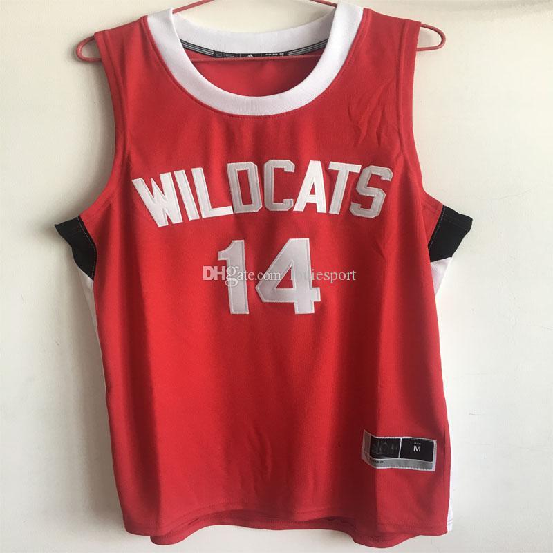 12a5a93b20c Satın Al Erkekler # 14 Zac Efron Troy Bolton Lisesi Müzikal Wildcats  Basketbol Formaları Kırmızı Beyaz Dikişli Spor Formalar Her Boyutta XXS 6XL  ...