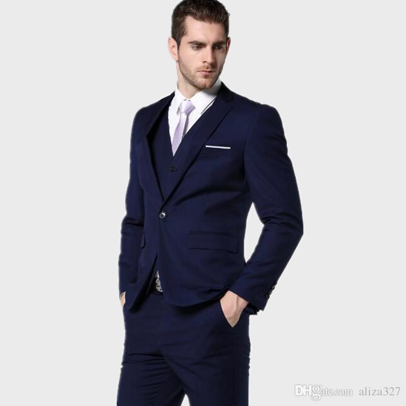 Latest design men suits Slim Fit Men stylish Navy Bue Men Wedding ...