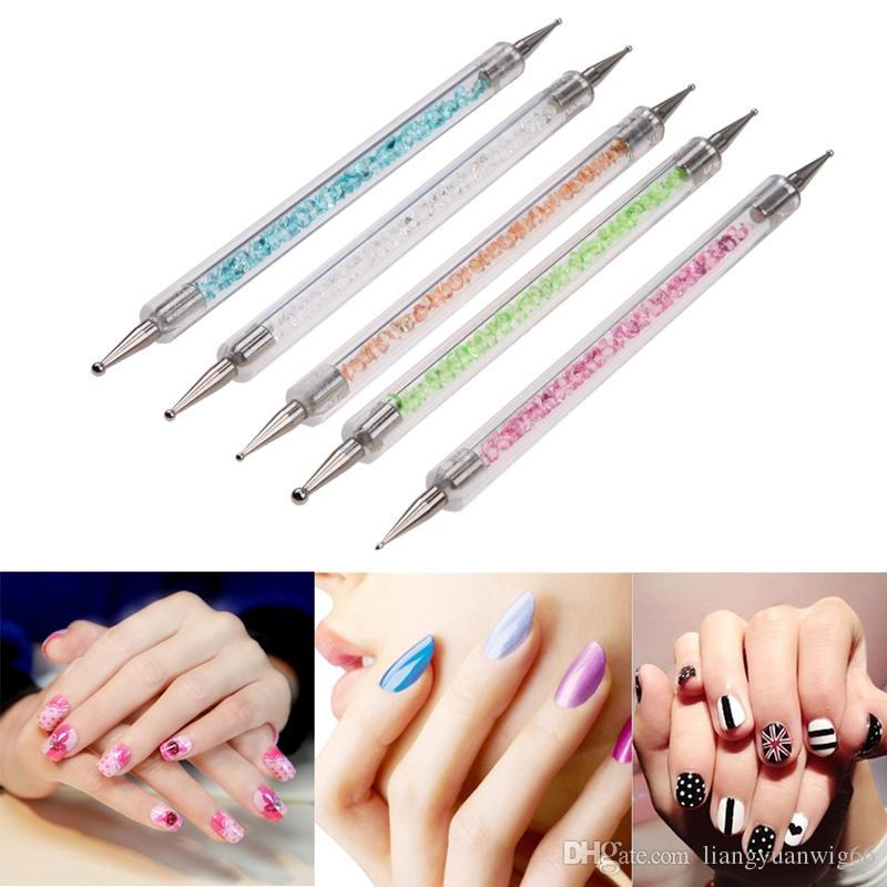 Double Heads Nail Art Dotting Pens Crystal Rhinestone Acrylic Handle ...