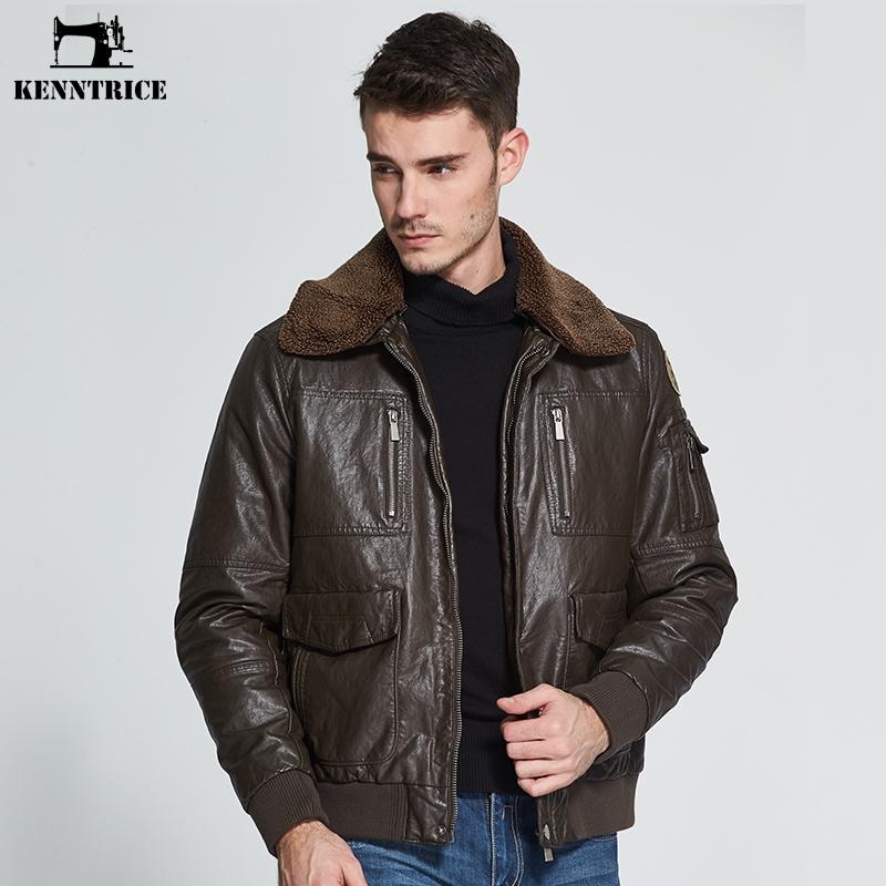 factory authentic 4555a 889b9 All'ingrosso-KENNTRICE Giacca in pelle da uomo di marca Pilot Giacche in  pelle da uomo cappotto invernale Faux pelle di pecora giacca bomber collo  di ...