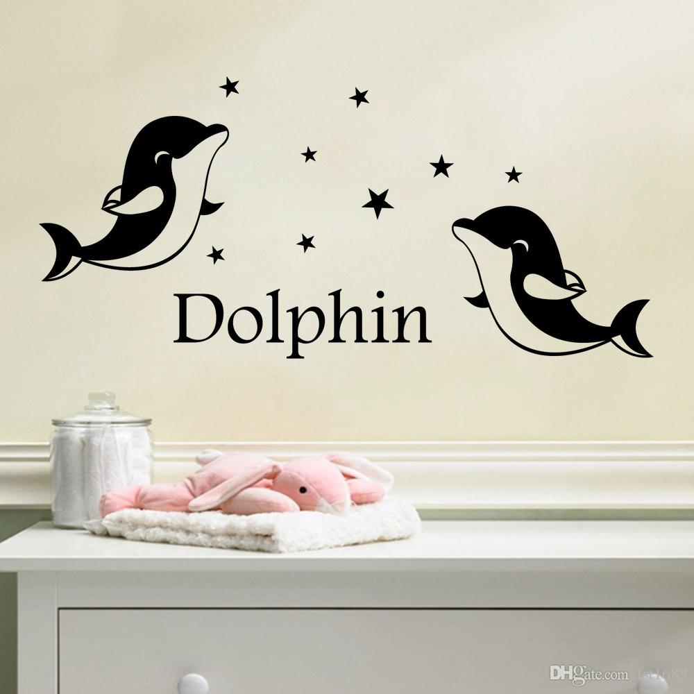 9212 Dolphins Wall Sticker Personalized Name for Kids Room Wall Decal Dolphin Star Home Decor