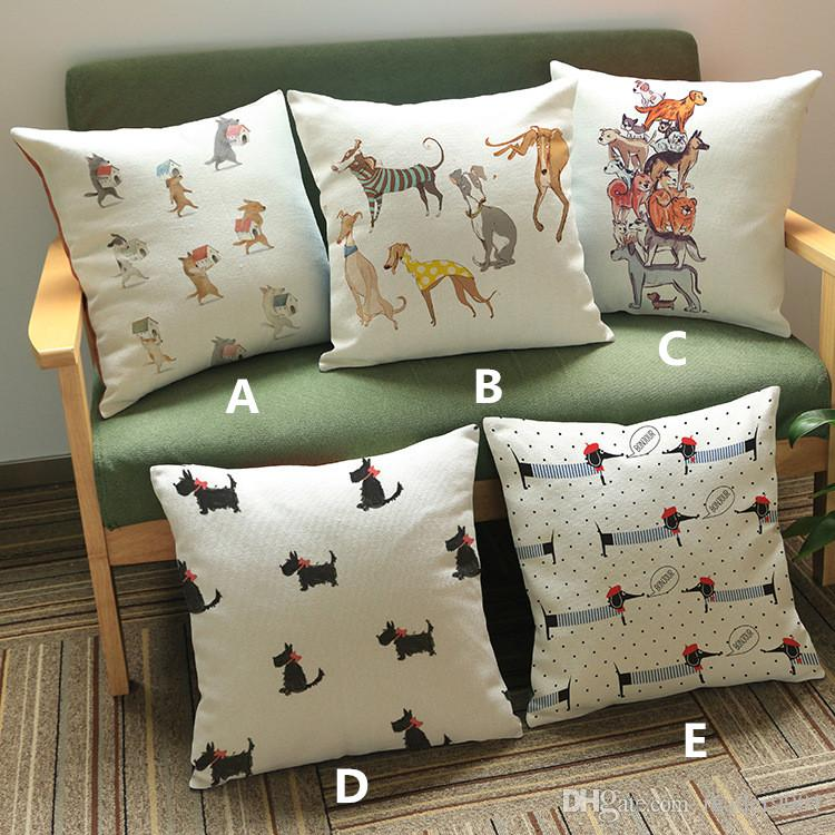2017 New Cartoon Cute Puppy Home Style Printed Pillow Cover