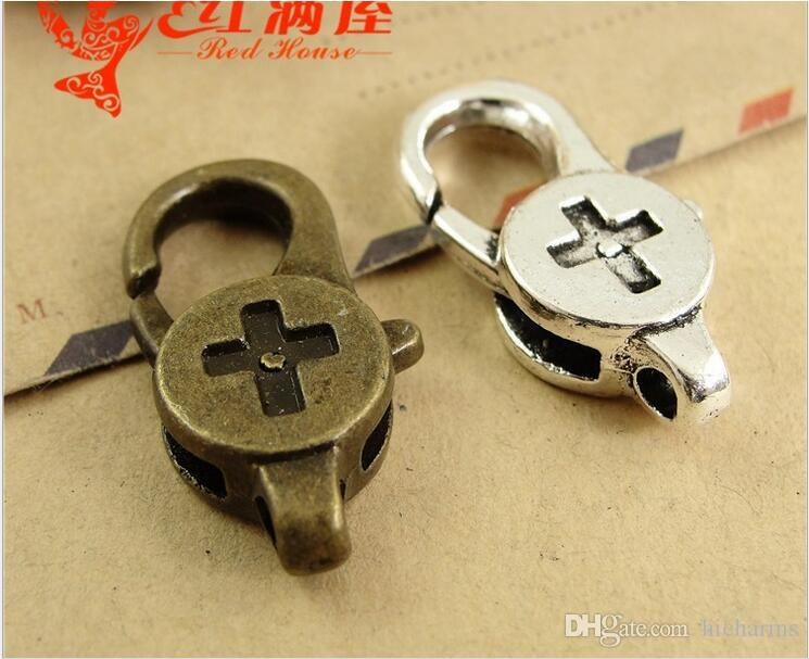 28*14MM Antique bronze plated cross shape lobster clasp for bracelet, vintage silver jewelry clasp for necklace, metal key ring holder hook