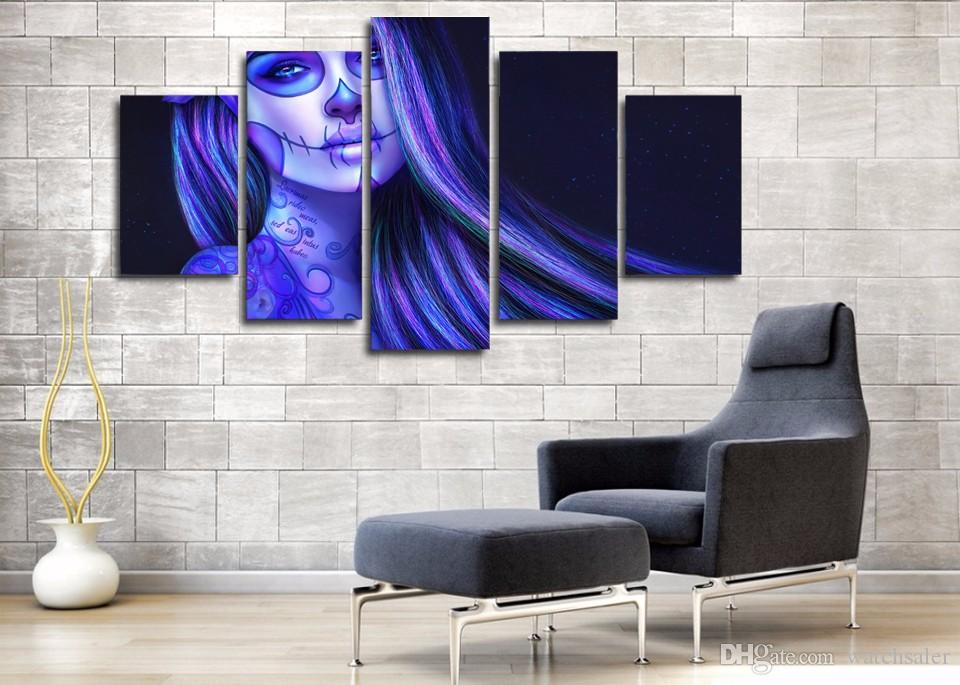 HD Printed Piano Brunette Tattoos Makeup Painting Canvas Print room decor print poster picture canvas wall poster