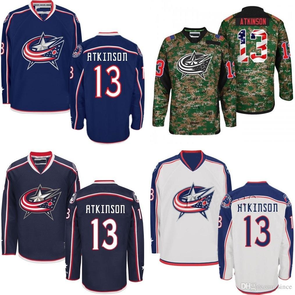 brand new da8eb 82b3c 2016 New CHEAP Mens Columbus Blue Jackets 13 Cam Atkinson Black Blue White  Ice Hockey Jerseys Authentic Jerseys Size S-3XL Accept Mix order